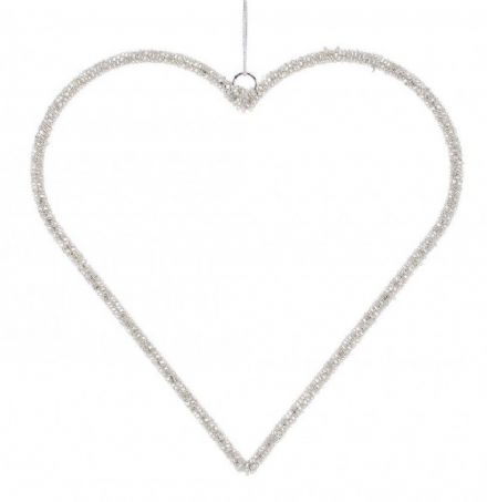 Silver Hanging Heart Decoration - Large